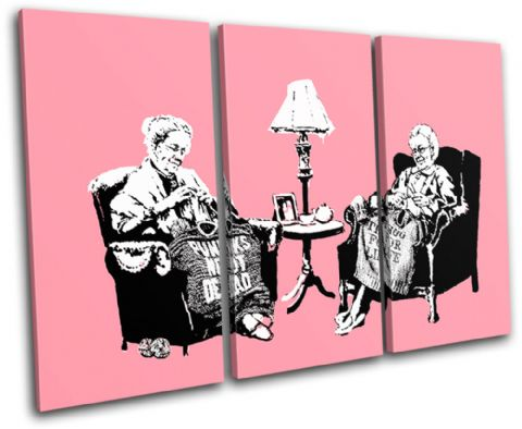 Knitting Grannies Banksy Painting - 13-0954(00B)-TR32-LO
